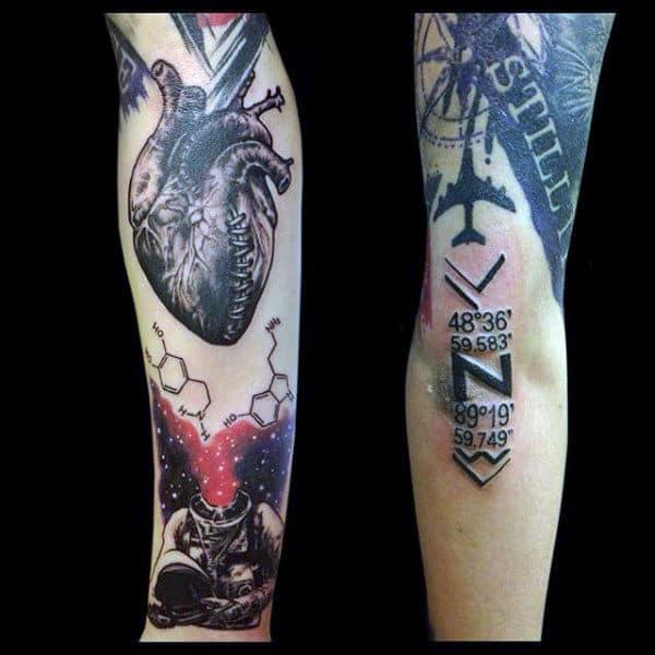 Heart Abstract Male Trash Polka Tattoo Designs