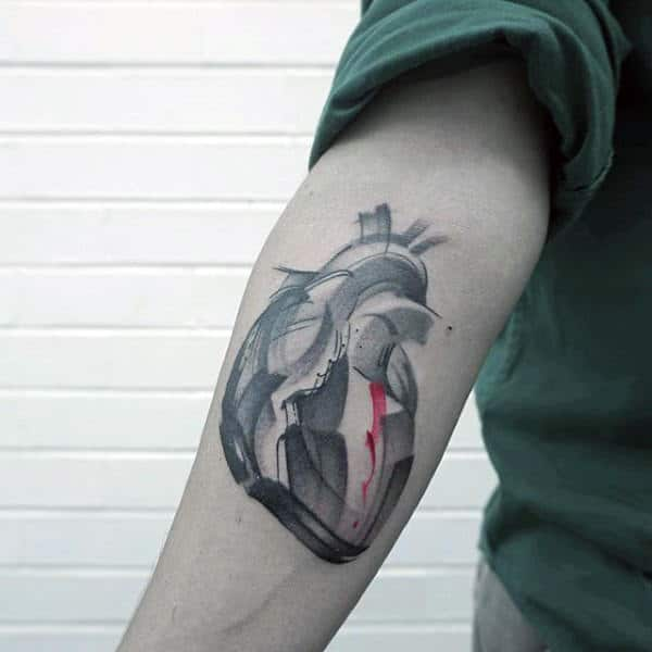 Heart Brush Stroke Mens Inner Forearm Tattoo