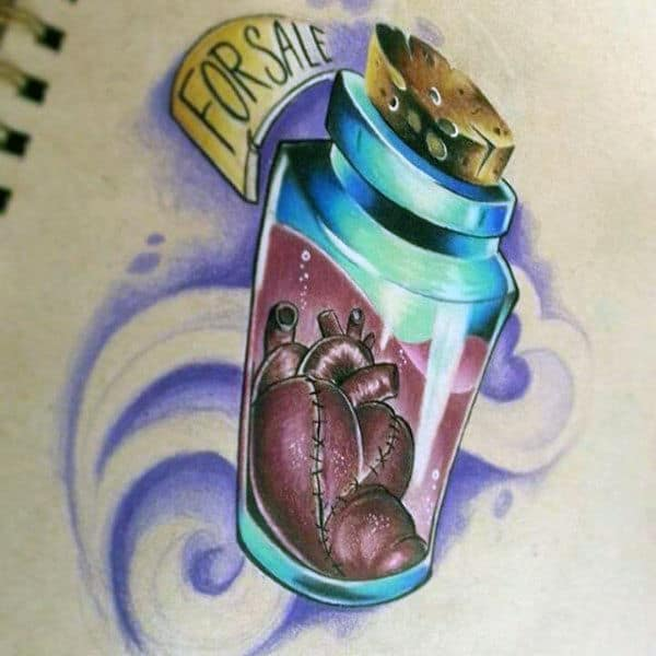 Heart In Cork Bottle Tattoo On Man