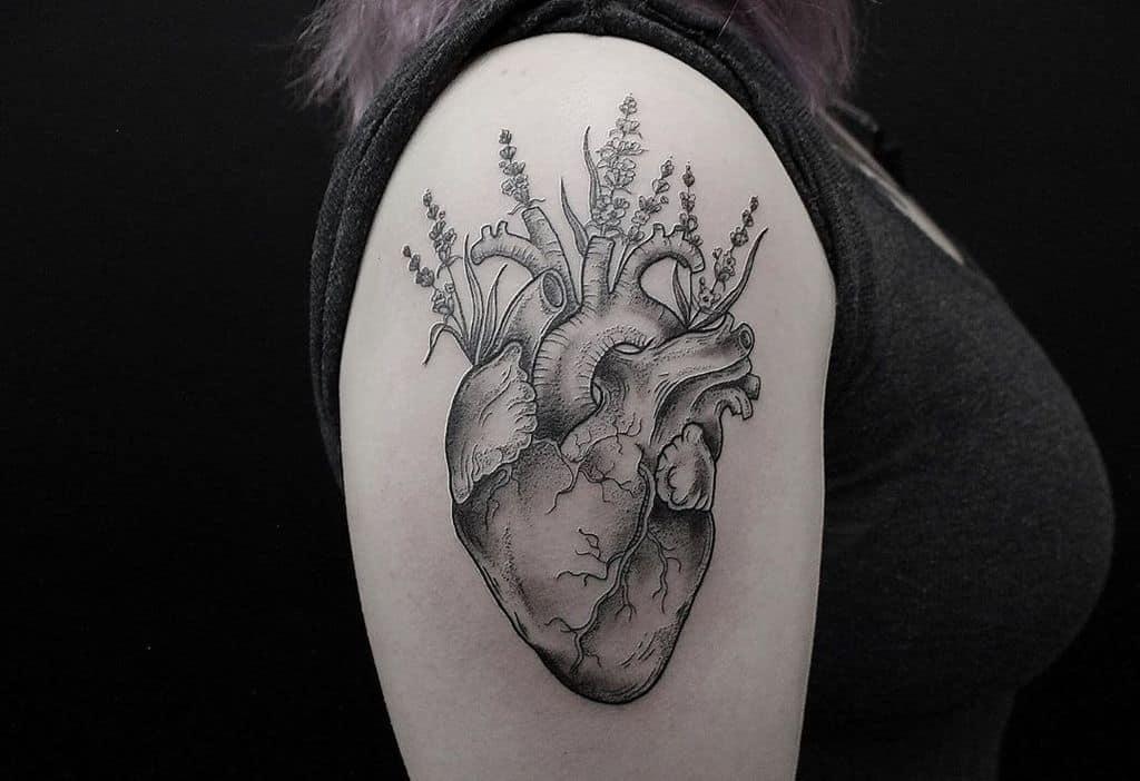 Heart Lavander Tattoo