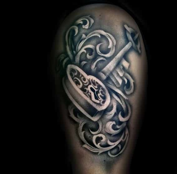 Heart Lock Mens Keyhole Shaded 3d Tattoos