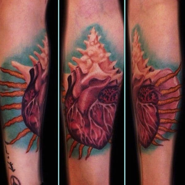 Heart Seashell Mens Abstract Arm Tattoo Ideas