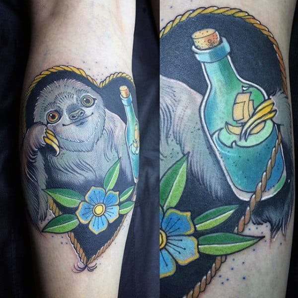 Heart Sloth Holding Ship In A Bottle Mens Forearm Tattoo