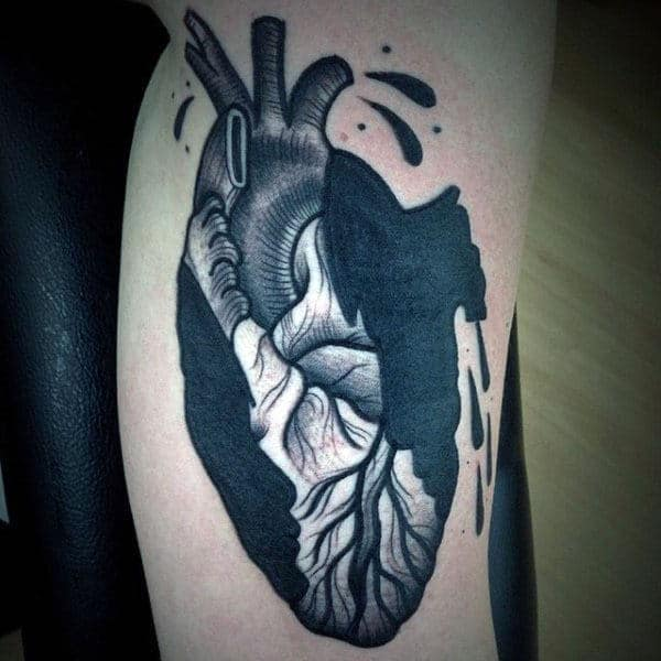 Heart Tattoo On Man Blackwork Arm Tattoo With Blood