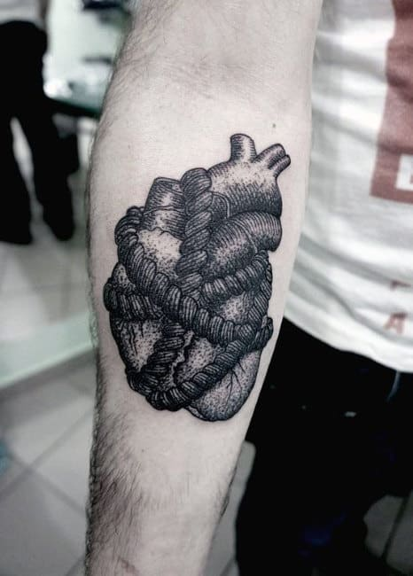 Heart Tattoo On Man In Line Shaded Black Ink For Forearm