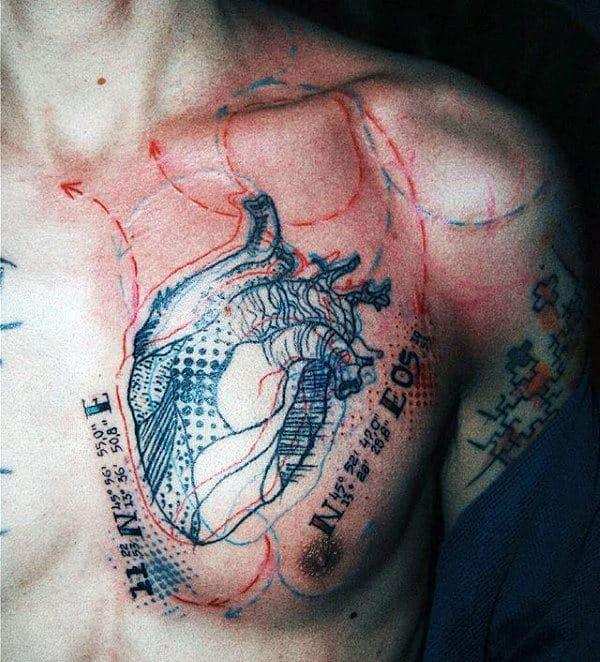 Heart Trash Polka Guys Chest Tattoos