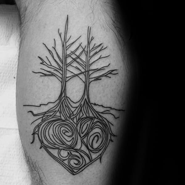 Heart Tree Roots Mens Leg Calf Tattoo