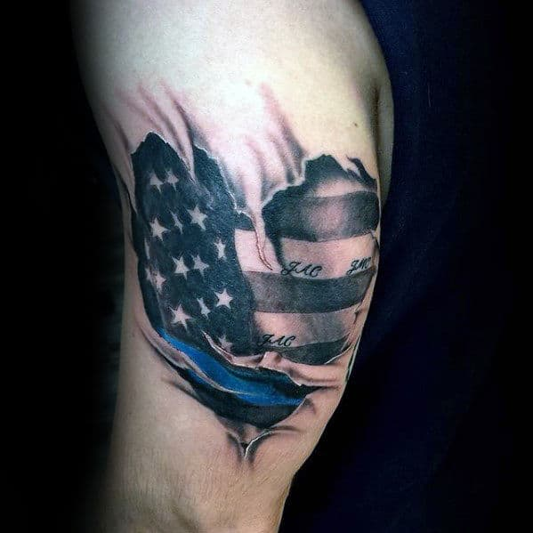 Heart With American Flag And Thin Blue Line Tricep Tattoos For Men
