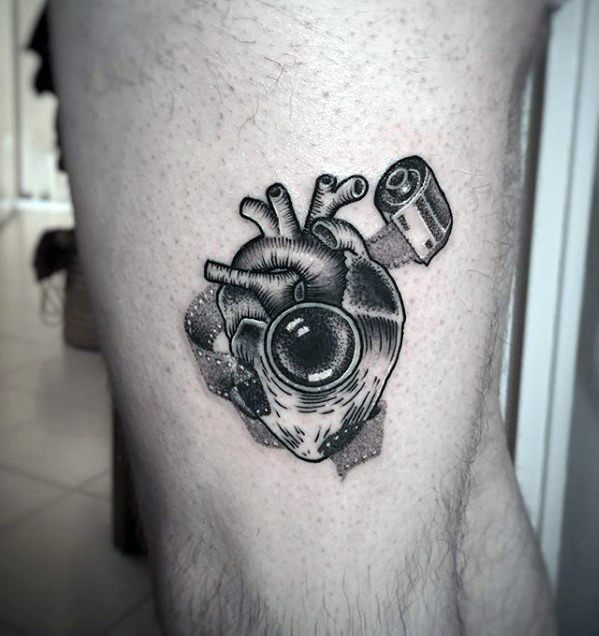 Heart With Camera Themed Design Small Detailed Leg Tattoos For Guys