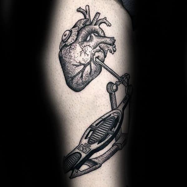 Heart With Drum Mens Leg Tattoos