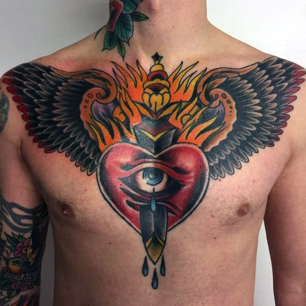 60 traditional chest tattoo designs for men old school for Traditional old school tattoo designs