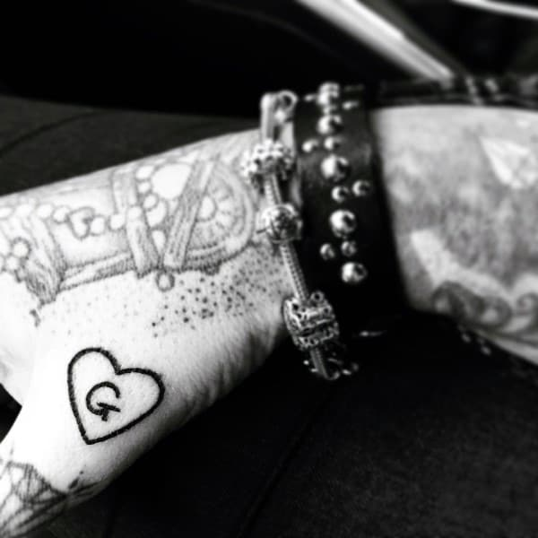 Heart With Inital Matching Couple Tattoos Ideas