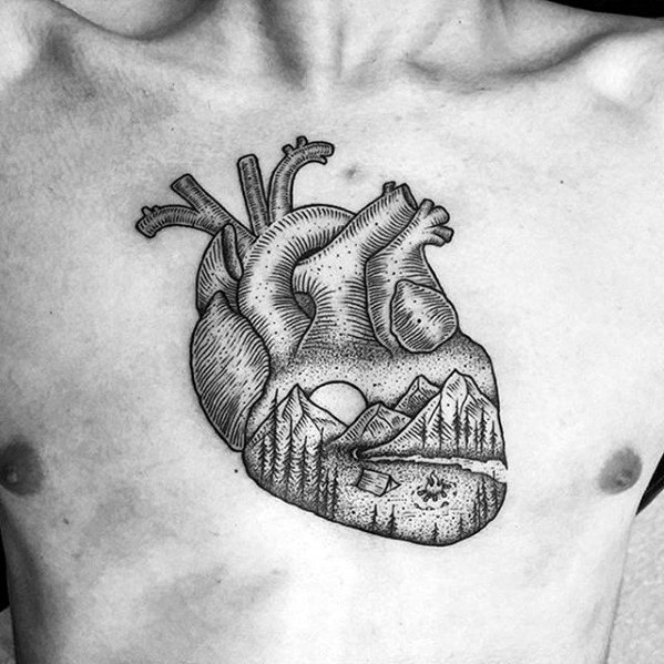 Heart With Nature Landscape Badass Guys Chest Tattoo