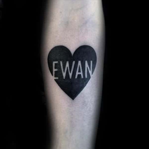 Heart With Negative Space Name Male Forearm Tattoos