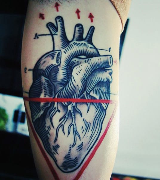 Heart With Red Ink Triangle Tattoo On Arms