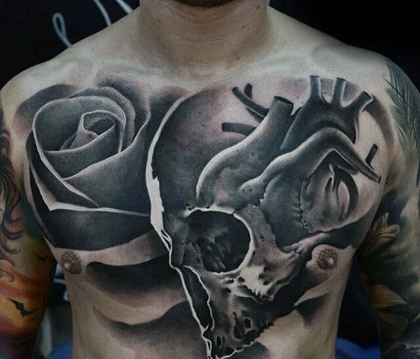 Heart With Skull And Rose 3d Creative Mens Chest Tattoos