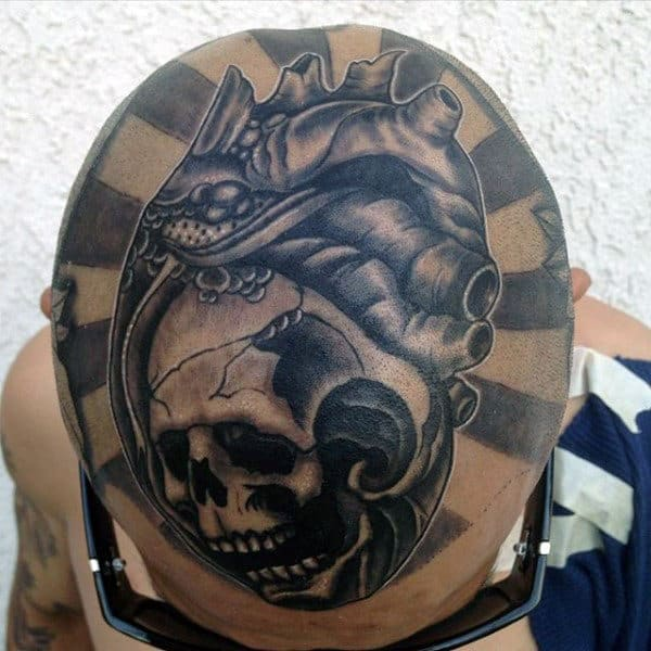 Heart With Skull Creative Male Head Tattoo Ideas