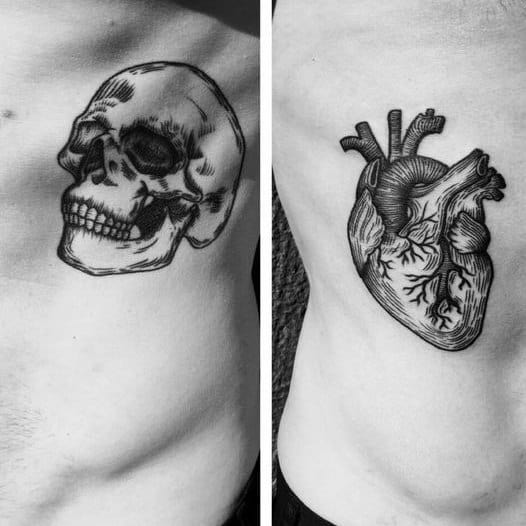Heart With Skull Life Death Themed Mens Rib Cage Side Tattoo