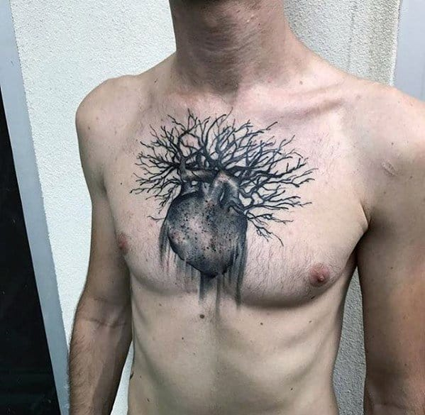 Heart With Tree Branches Unique Chest Tattoo For Guys