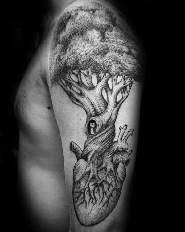 Heart With Tree Mens Arm Family Tattoo Designs