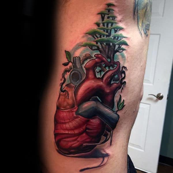 Heart With Trees Amazing Mens Rib Cage Tattoos