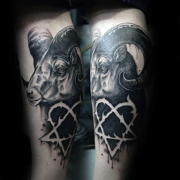 Heartagram Ram Mens Black Ink Negative Space Leg Tattoo