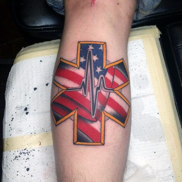 Heartbeat And American Flag Tattoo Male Forearm