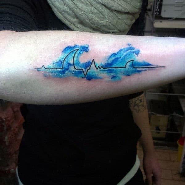 Heartbeat Tattoo With Blue Waves Tattoo On Forearm
