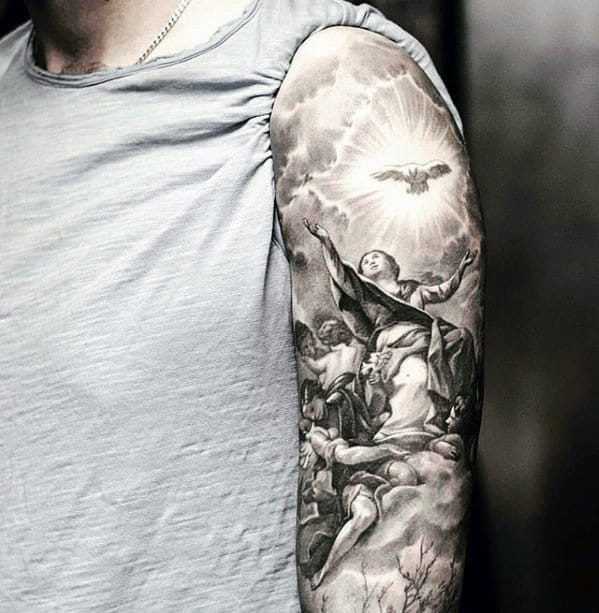 Heaven Angels Catholic Mens Sleeve Tattoo