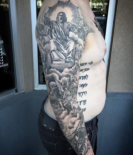 75 Religiöse Ärmel Tätowierungen für Männer - Göttlicher Geist
