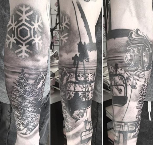 Heavenly Snow Clad Peaks And Snowboard Tattoo Male Forearms