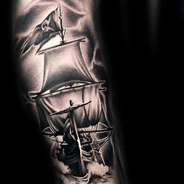 Heavily Shaded 3d Guys Pirate Flag Ship Sleeve Tattoo Designs