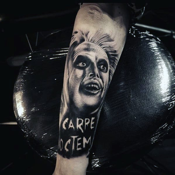 Heavily Shaded Beetlejuice Male Outer Forearm Tattoo Design Ideas