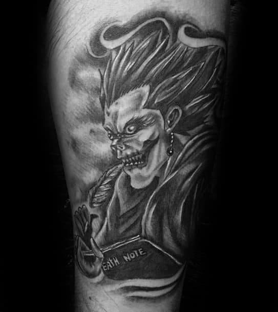 Heavily Shaded Black And Grey Ink Death Note Male Tattoo Ideas