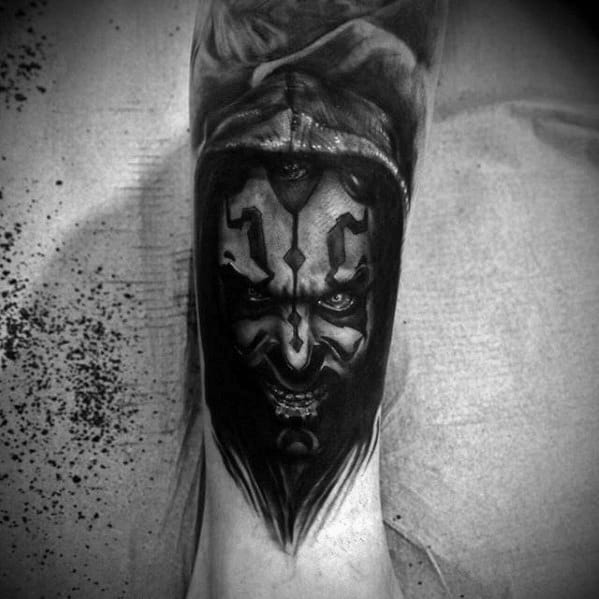 Heavily Shaded Black Ink Lower Leg Darth Maul Tattoos Male