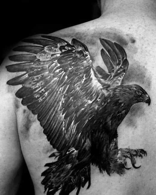 Heavily Shaded Cool Mens Eagle Back Tattoo