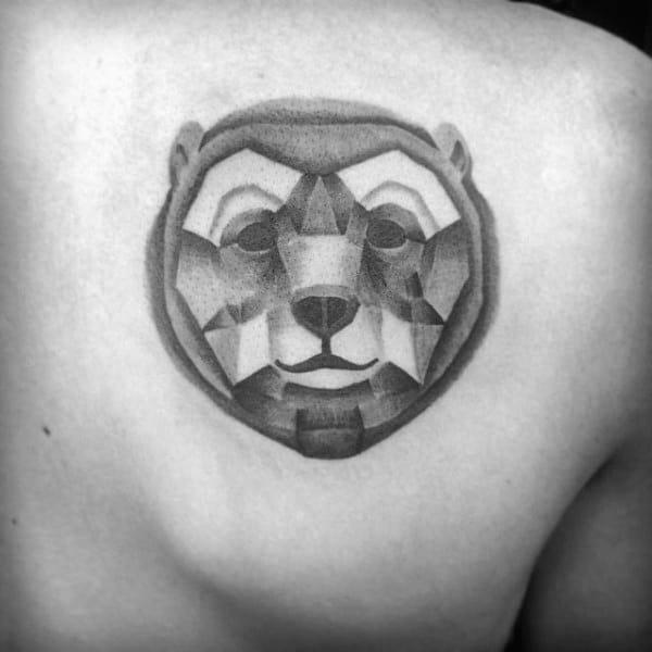 Heavily Shaded Geometric Bear Mens Shoulder Back Tattoo