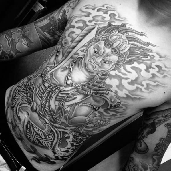 Heavily Shaded Grey And Black Full Chest 3d Fudo Myoo Male Tattoo Designs