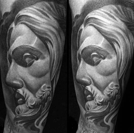 Heavily Shaded Guys Jesus Tattoo On Arm
