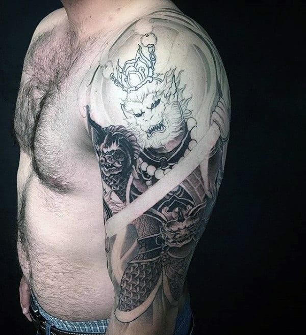 Heavily Shaded Guys Monkey King Half Sleeve Tattoos