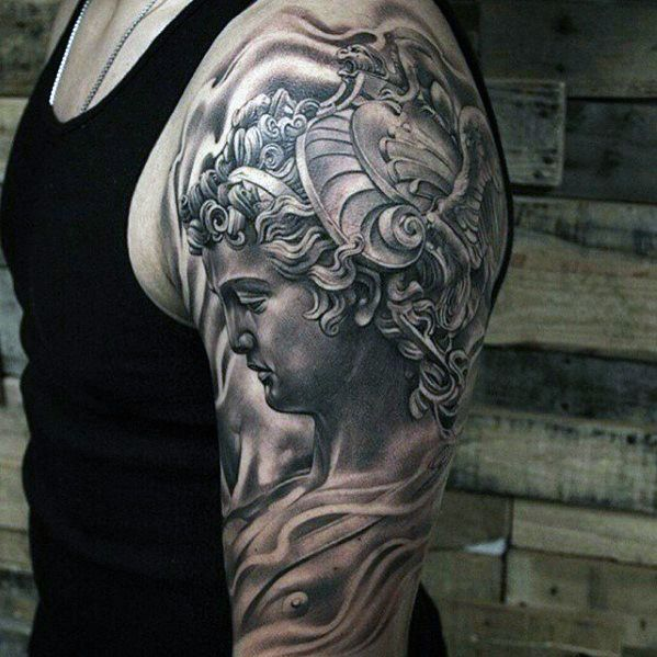 Heavily Shaded Half Sleeve Perseus Tattoos For Men