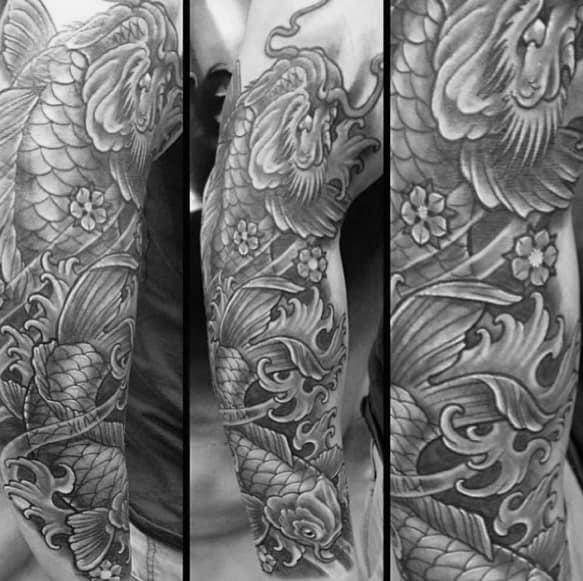 Heavily Shaded Manly Guys Koi Dragon Sleeve Tattoo Ideas