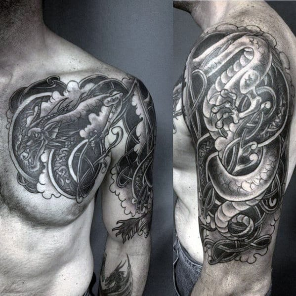 Heavily Shaded Masculine Guys Tribal Knot Dragon Arm And Chest Tattoo