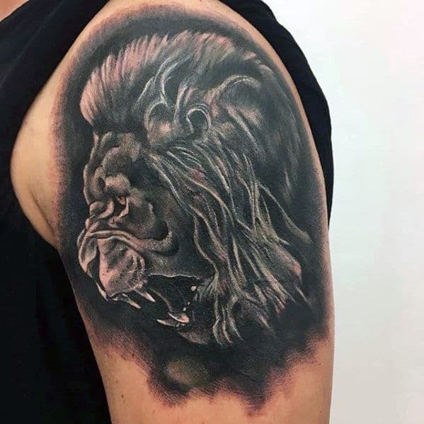 Heavily Shaded Masculine Realistic Lion Tattoos For Guys
