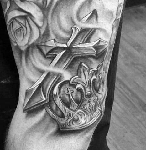 Heavily Shaded Mens 3d Cross Tattoo On Arm