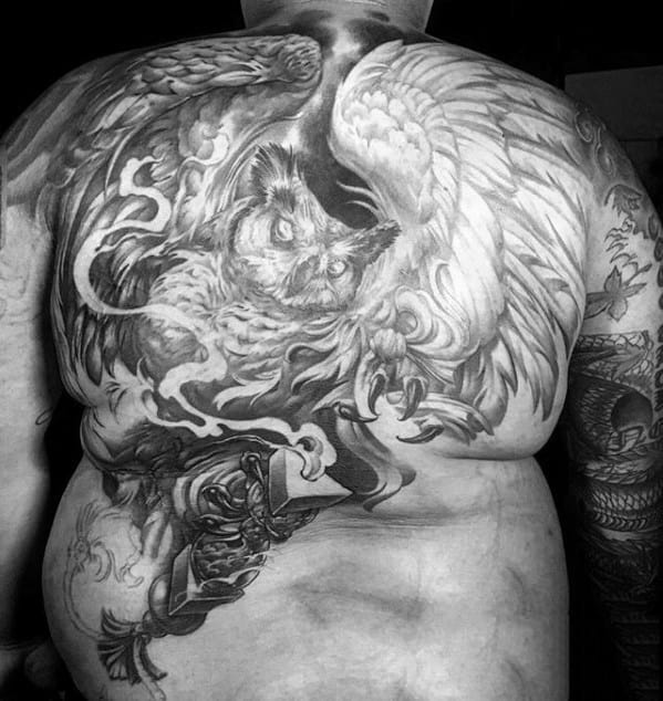 Heavily Shaded Owl Male Full Back Tattoos
