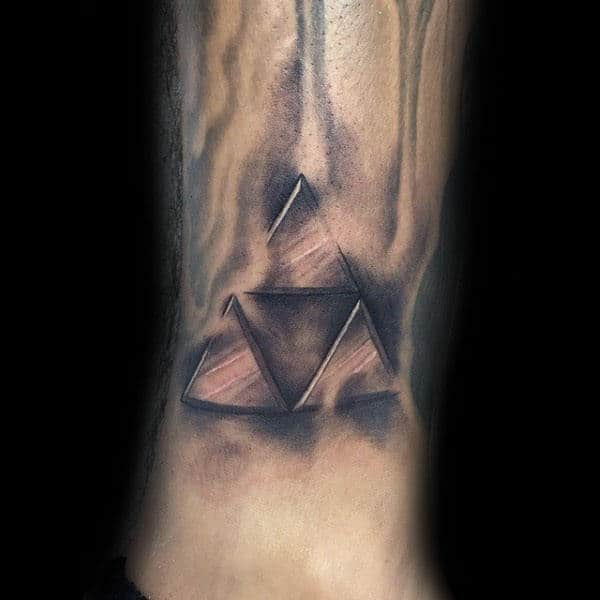 Heavily Shaded Triforce Symbol Tattoo On Lower Leg For Men