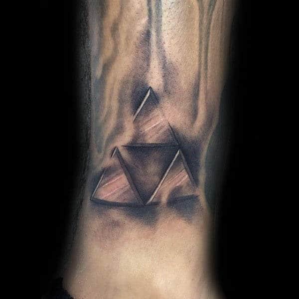 Heavily Shaded Triforce Symbol Tattoo On Lower Leg For Men