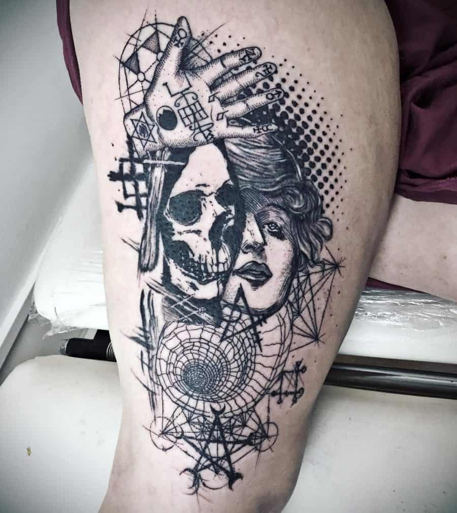 Heavy Black Traditional Face Skulls Hand Spirals Large Dots Thight Abstract Tattoo