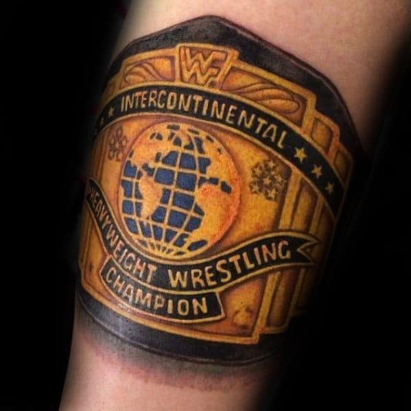 Heavyweight Wrestling Champion Belt Forearm Band Mens Wrestling Tattoo